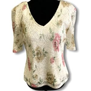 ALGO Lace Overlay Floral Top Made in Canada